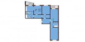 План-схема четырехкомнатной квартиры - 113,65 м2