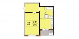 План-схема однокомнатной квартиры - 47,36 м2