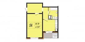 План-схема однокомнатной квартиры - 47,87 м2
