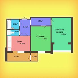 Двухкомнатная квартира - 65,54 м2
