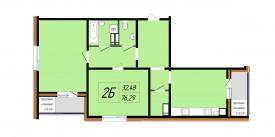 План-схема двухкомнатной квартиры - 76,16 м2