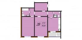 План-схема двухкомнатной квартиры - 78,28 м2