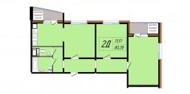 План-схема трехкомнатной квартиры - 80,28 м2