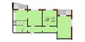 План-схема трехкомнатной квартиры - 78,28 м2