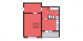 Однокомнатная квартира - 45,91м2