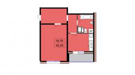 Однокомнатная квартира - 45,45 м2