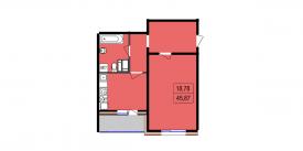 Однокомнатная квартира - 45,87 м2