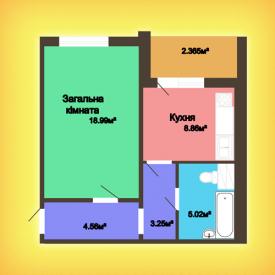 Однокомнатная квартира - 43,05 м2