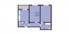Двухкомнатная квартира - 68,45 м2