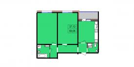 Двухкомнатная квартира - 69,06 м2