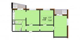 Двухкомнатная квартира - 79,89 м2