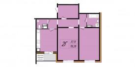 Двухкомнатная квартира - 78,28 м2