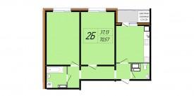 Двухкомнатная квартира - 70,57 м2