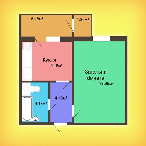 Однокомнатная квартира - 41,44м2