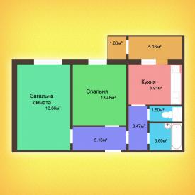 Двухкомнатная квартира - 60,7 м2