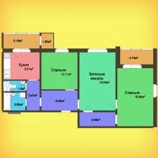 Трехкомнатная квартира - 87,96 м2