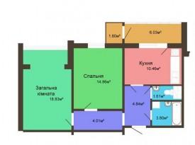 Двухкомнатная квартира - 64,98 м2