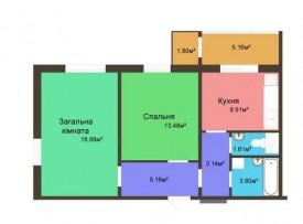 Двухкомнатная квартира - 60,68 м2