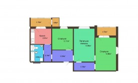 Трехкомнатная квартира - 88,74 м2