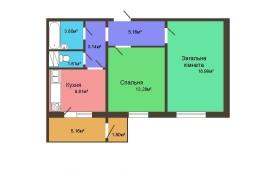Двухкомнатная квартира - 59,80 м2