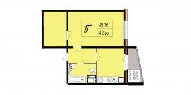 План-схема однокомнатной квартиры - 44,55 м2