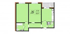 План-схема двухкомнатной квартиры - 70,57 м2
