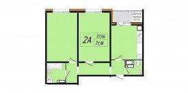 План-схема двухкомнатной квартиры - 71,18 м2