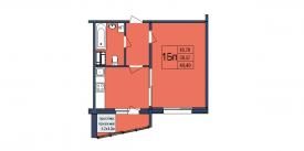 План-схема однокомнатной квартиры - 40,40м2