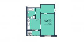План-схема однокомнатной квартиры - 47,82м2