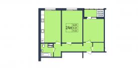 План-схема двухкомнатной квартиры - 71,33м2