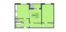 План-схема двухкомнатной квартиры - 72,99м2