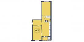 План-схема двухкомнатной квартиры - 74,23м2