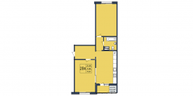 План-схема двухкомнатной квартиры - 75,37м2